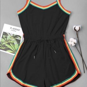 Zaful Romper with Rainbow Trim